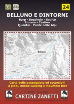 Belluno, Barp, Sospirolo, Sedico, Limana, Castion, Quantin, Ponte nelle Alpi. Carta delle passeggiate ed escursioni a piedi, nordic walking e mountain bike Mappa scala 1:30.000